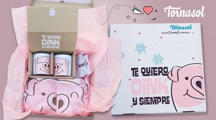 Este kit está creado para las parejas más divertidas, que les encanta reír a carcajada suelta, que buscan salir de lo cursi, pero sin perder ese detalle romántico. #oink #paquete #kit #tazas #parejas #love #cute #tornasol #pig #piggy #amor #love #romantico #funny