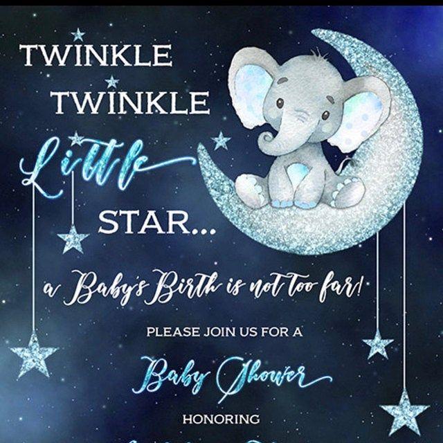 Blue Elephant Twinkle Twinkle Baby Shower Invite Twinkle Twinkle Little Star Baby Shower Invitation Twinkle Twinkle Baby Shower Invitation