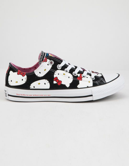 02c079f3520e94 CONVERSE x Hello Kitty Chuck Taylor All Star Black   Prism Pink Low Top  Womens Shoes