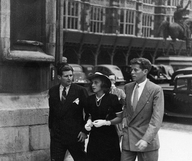 September 1, 1939: Joe, Kathleen, and Jack Kennedy, the children of American Ambassador to Great Britain, Joseph P. Kennedy, arriving at the Houses of Parliament in London.
