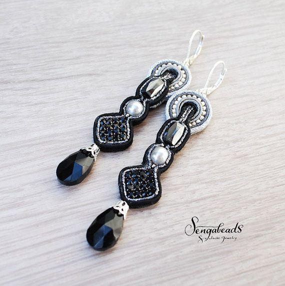 Elegant long soutache earrings in black and gray. by Sengabeads