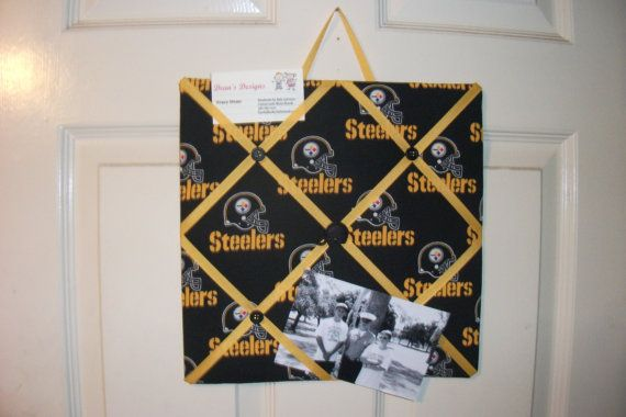 12x 12 Memo Board Pittsburgh Steelers, great for hanging pictures, memos or notes on Etsy, $12.00