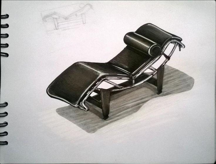 Chaise Longue LC 4 / Le Corbusie. Furniture Sketch, marcadores, Markers, ilustración, illustration.