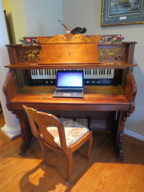Created this beautiful solid walnut writing desk from a c.1900 Burdett Organ Company (Chicago, IL) pump organ.  This fully functioning writing desk is solidly constructed.  I was able to retain the…
