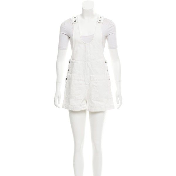 Pre-owned Tibi Denim Overall Romper ($65) ❤ liked on Polyvore featuring jumpsuits, rompers, white, playsuit romper, denim romper, white overalls, white rompers and denim bib overalls