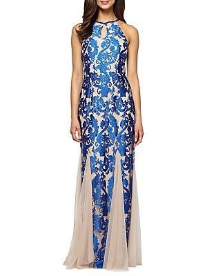 e082c3016f7ce Alex Evenings Embroidered Halter Godet Gown Alex Evenings, Lord & Taylor