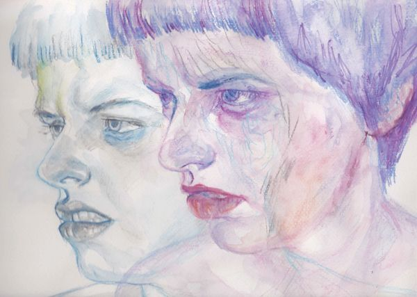 Drawings with watercolour pencils by Timea Mitroi, via Behance