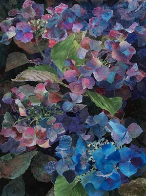 Blue Lacecap Hydrangea by Amanda Richardson - UK textile artist -- fabric collage with hand-painted silks!