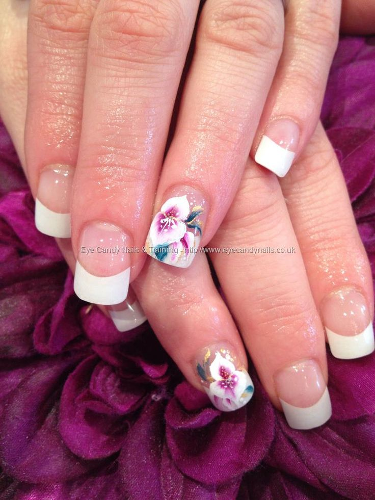 White tips with acrylic overlays and purple and white one stroke flower nail art