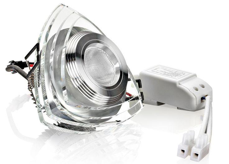 LED Einbaustrahler Kristallglas Dreieck versetzt warmweiß