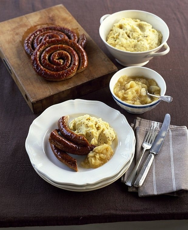 Cumberland sausage with mustard mash and spiced apple sauce  - countryliving.co.uk