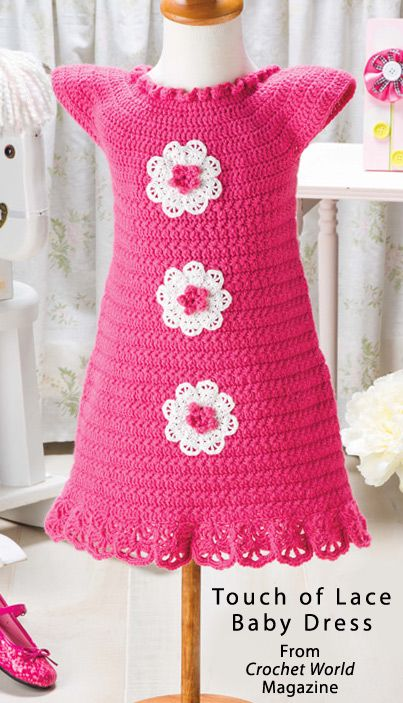 Touch of Lace Baby Dress from February 2014 issue of Crochet World Magazine. Order a digital copy here: http://www.anniescatalog.com/detail.html?code=AM01216