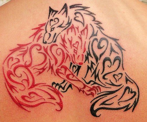 Black and Red Fox tattoo This reminds me of that old story where the aboriginal (Cree...?) grandfather is telling his grandson about the two wolves in each of us. One good, one evil. The one that survives is the one that we feed. One of my favourite messages.