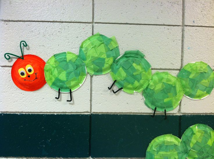 The Very hungry Caterpillar.  Preschool plate craft
