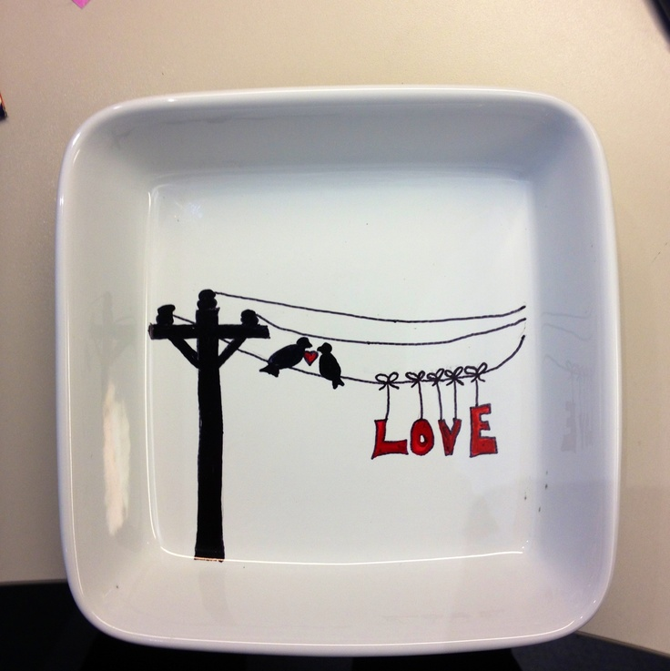 Nightstand dish I made for my husband! Ceramic hand painted birds on wire #lineman ~ hand made by Kandi Daniel