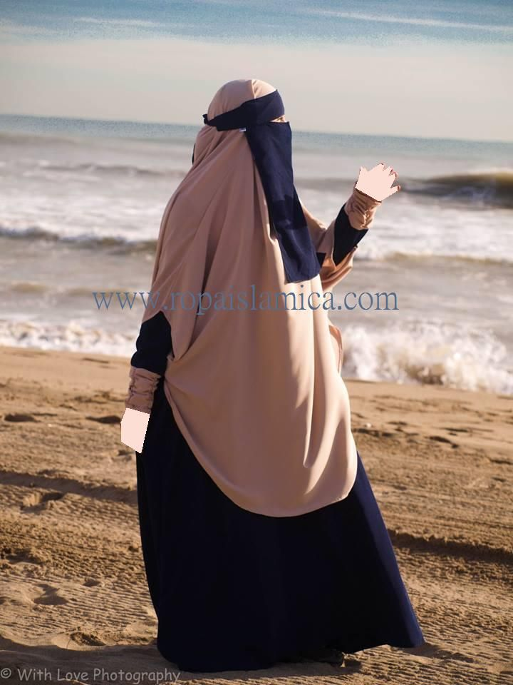 Khimar Asia 21€ color beig Abaya Rose 32.5€ marino-beig niqab azul marino 7€