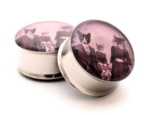 Cat Family Picnic Picture Plugs gauges  8g by mysticmetalsorganics, $19.99