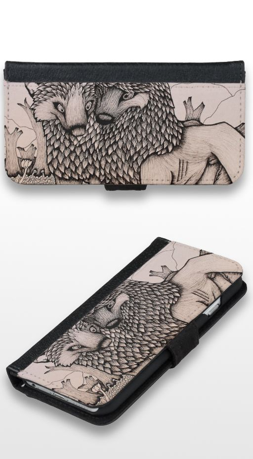 """Bonfire"" Black and white illustrated wolf couple iPhone 6/6s Wallet Case"