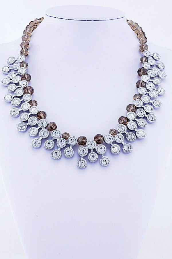 Silver Brown Bead & Sparking Diamante Statement Necklace UK