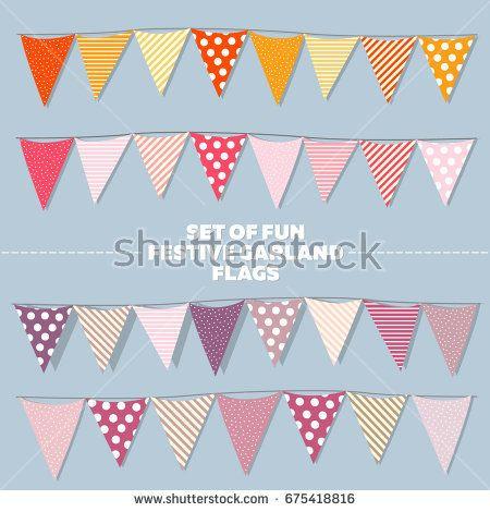 Set of fun vector festival garland of flag in warm shades