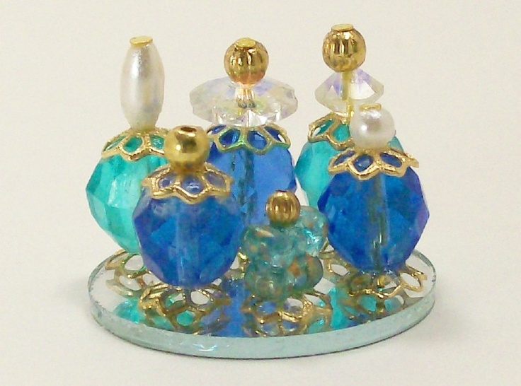 Perfume bottles - made with beads...dales_dreams dollhouse miniatures 1/12th or one inch scale