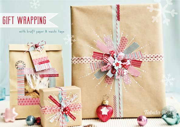 diy gift wrapping using washi tape and kraft paper