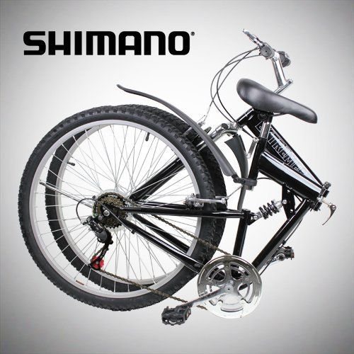 """Product review for New 26"""" Folding Mountain Bike Foldable Bicycle 6 SP Speed Shimano, Black Color - 26"""" Folding Mountain Bicycle, 6 Speed – Black. Riding with style and convenience. This light weight bike can be easily folded within 15 seconds, for easy storage and transportation. It can fit in most compact car's rear trunk. Recommended for rider's height..."""
