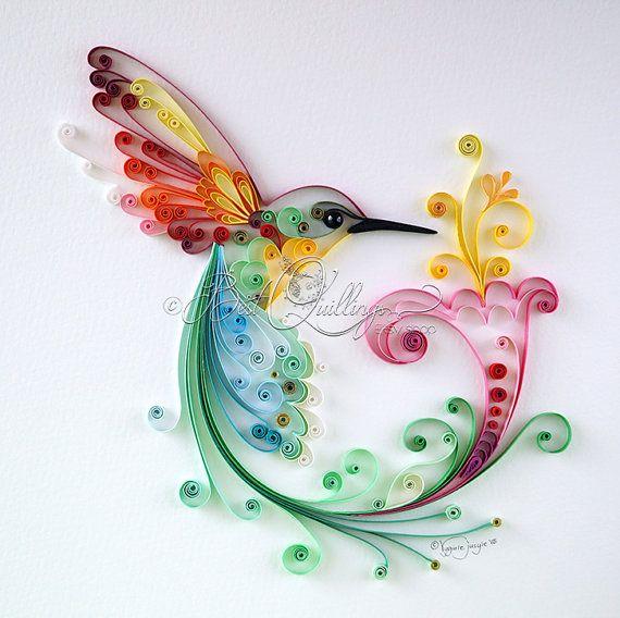 """Original arte """"Pájaro de la felicidad"""" de Quilling enmarcado arte de papel de colores, arte de la pared y Deco hogar oficina cualquier ocasión"""