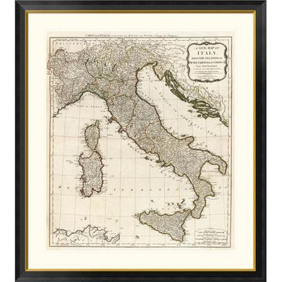 Global Gallery A New Map of Italy with the Islands of Sicily, Sardinia & Corsica, 1790 by Thomas Kitchin Framed Graphic Art Size: