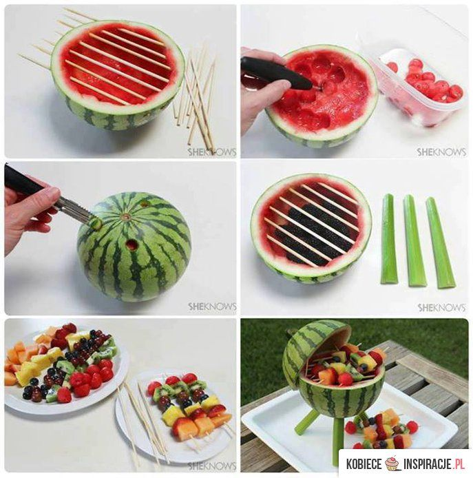 Easy Food for the shower! ~ & CUTE!~ Watermelon fruit kebab BBQ Grill!