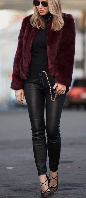 Bordeaux faux fur Style by Brooklyn Blonde.