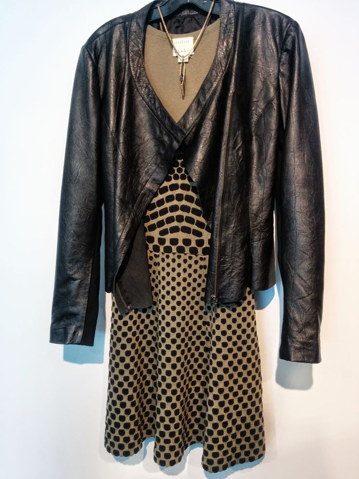 Dress by Nicole Miller paired with Cigno Nero's Leather Jacket