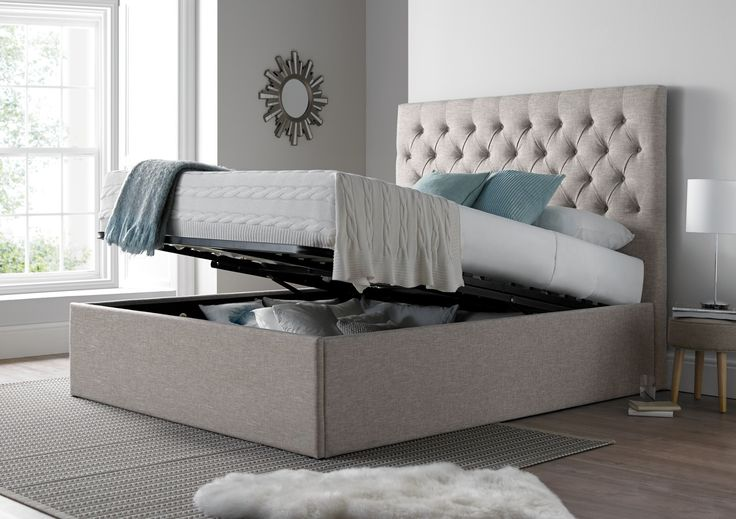 The maxi combines practicality with style and versatility.  What sets this bed a part  from the crowd is it's generous proportions.  The luxurious deep buttoned headboard stands 135cm tall and will make an impressive style statement in any bedroom.  The extra deep base means that this Ottoman bed offers considerably more storage than your average Ottoman bed.  The slatted Ottoman base can be easily raised and lowered with the assistance of the gas lift system which is similar to the meth...