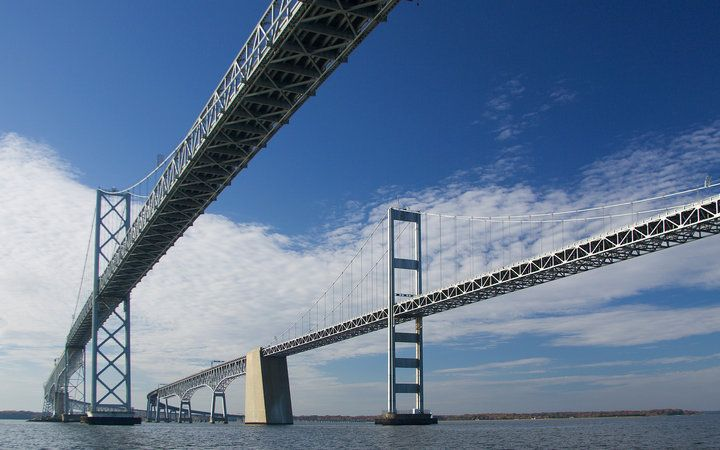 WORLD'S SCARIEST BRIDGES:  Chesapeake Bay Bridge, (aka William Preston Lane, Jr. Memorial Bridge), in Maryland. Drivers are notoriously afraid of this bridge, as it's subjected to frequent—and often violent—storms. And when the bad weather hits, forget about visibility: get to the middle of this 5-mile-long bridge and you can barely see land.  Where: Spanning the Chesapeake Bay to connect Maryland's eastern and western shores. Stats: Nearly 5 miles long; 186 ft high at its highest point.