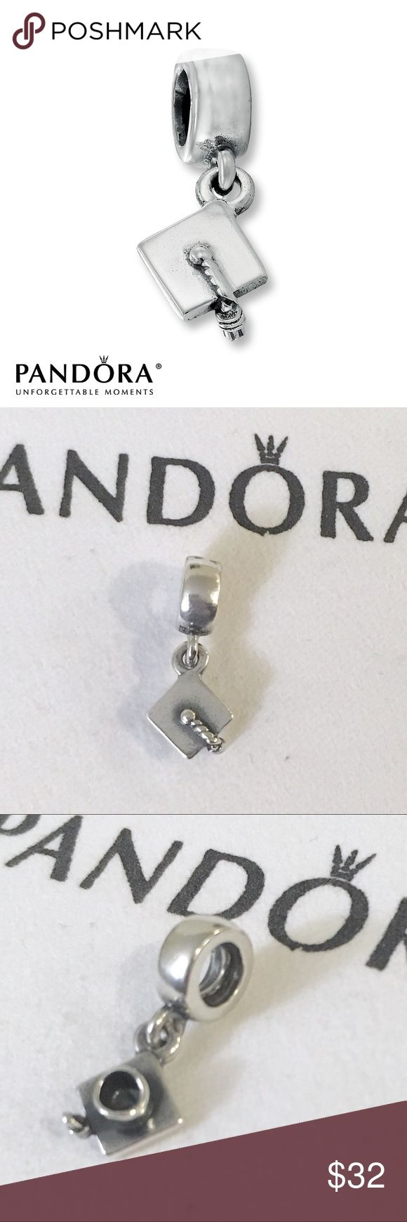 Pandora graduation cap sterling silver charm Authentic Pandora charm. Pandora graduation cap charm. Sterling silver, stamped with S925 and Ale underneath the dangle.   Bundle to save!  *Does not include the bracelet or cloth, sorry I do not have a box*  #Pandora graduation Charm, Pandora graduation cap dangle charm, pandora high school graduation, Pandora college graduation, Pandora Sterling silver charm, pandora graduation hat charm Pandora Jewelry Bracelets