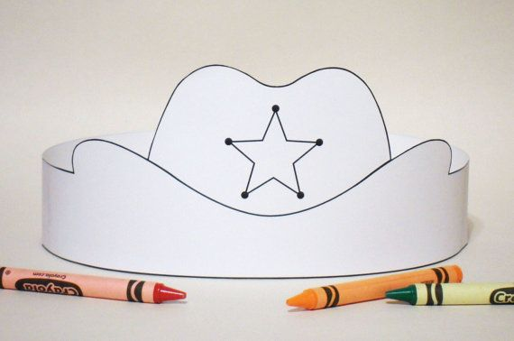 Cowboy Hat Paper Crown COLOR YOUR OWN  Printable by PutACrownOnIt