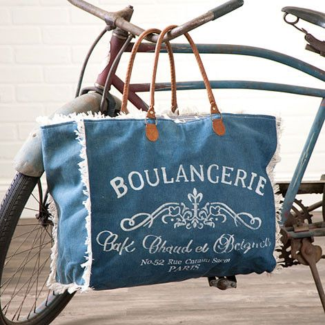 Recycled Canvas Large Beach Tote - Fringed Denim Bag with Faux Leather & French Boulangerie Typography