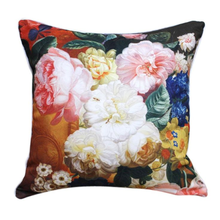"""18"""" Square Country Peony Print Polyester Decorative Pillow Cover  #cushions #pillows #decor #pattern #country #homedecor #livingroom"""