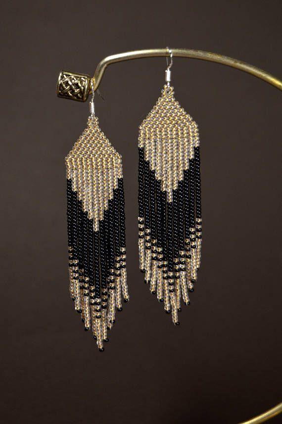 Beaded native earrings, Lengthy fringe earrings