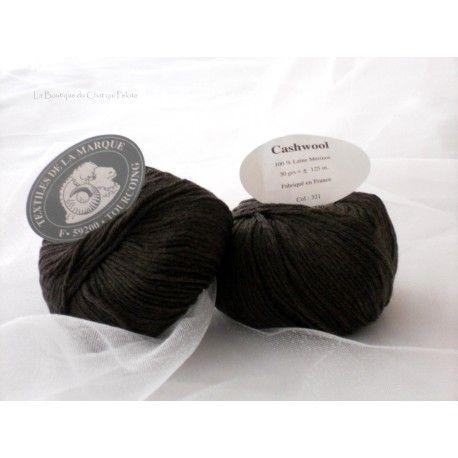 DESTOCKAGE - Pelote de laine Cashwool Textile de la Marque 321 marron