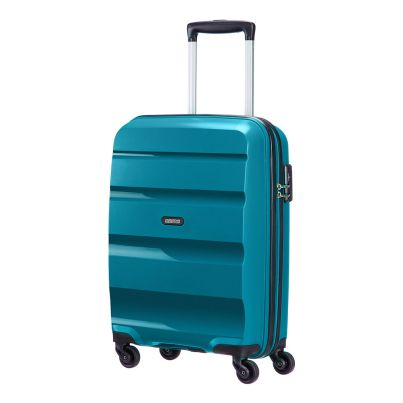 American Tourister 55cm Bon Air Spinner in teal. Take on the world with this super strong case.  www.zelows.com.au