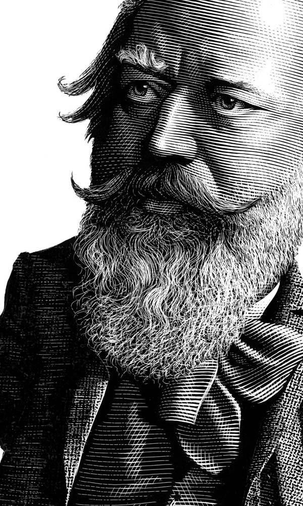 Brahms Engraving Illustration by Mark Summers