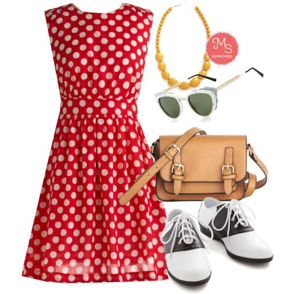 Too Much Fun Dress in Cherry, Who Could Be Saddle Shoes, Buckle Up Satchel, The Head and the Art Sunglasses in White, Bright and Baubly Necklace    #saddleshoes #beads #crossbody