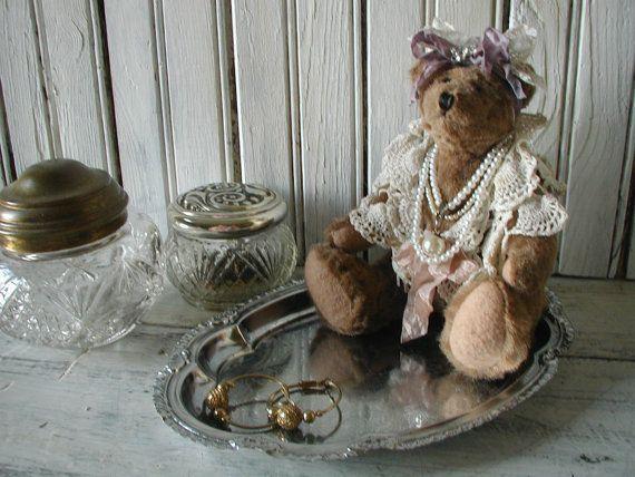 Bijoux de bain chambre Chic minable Stash nouveau matériaux nounours dentelle perles ruban métal plateau d'époque