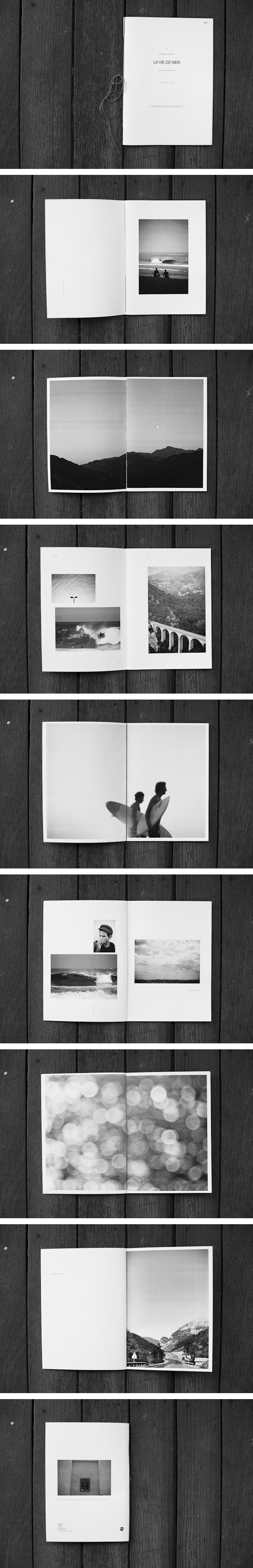Black and white framed photographs with a white background. Layout is thoughtful and simple, attracts my eye greatly