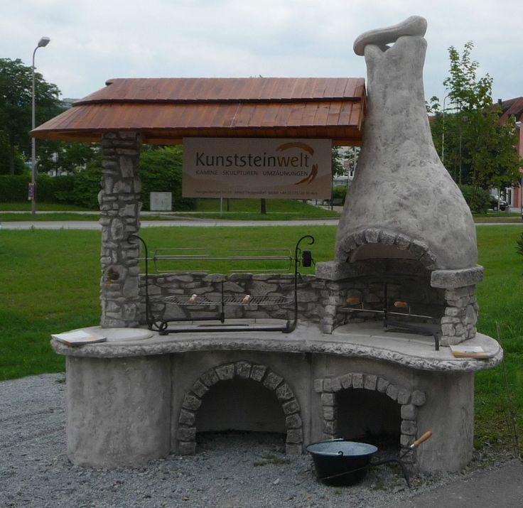 Räuberküche Grau Gartengrillkamin Steingrill Terassenofen Feuerstelle Betongrill | eBay