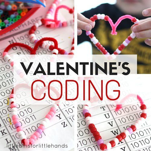 "Learn a little bit about the Binary Alphabet with these beaded hearts! Try our Valentines Day coding STEM project for kids and ""write"" words in code!"