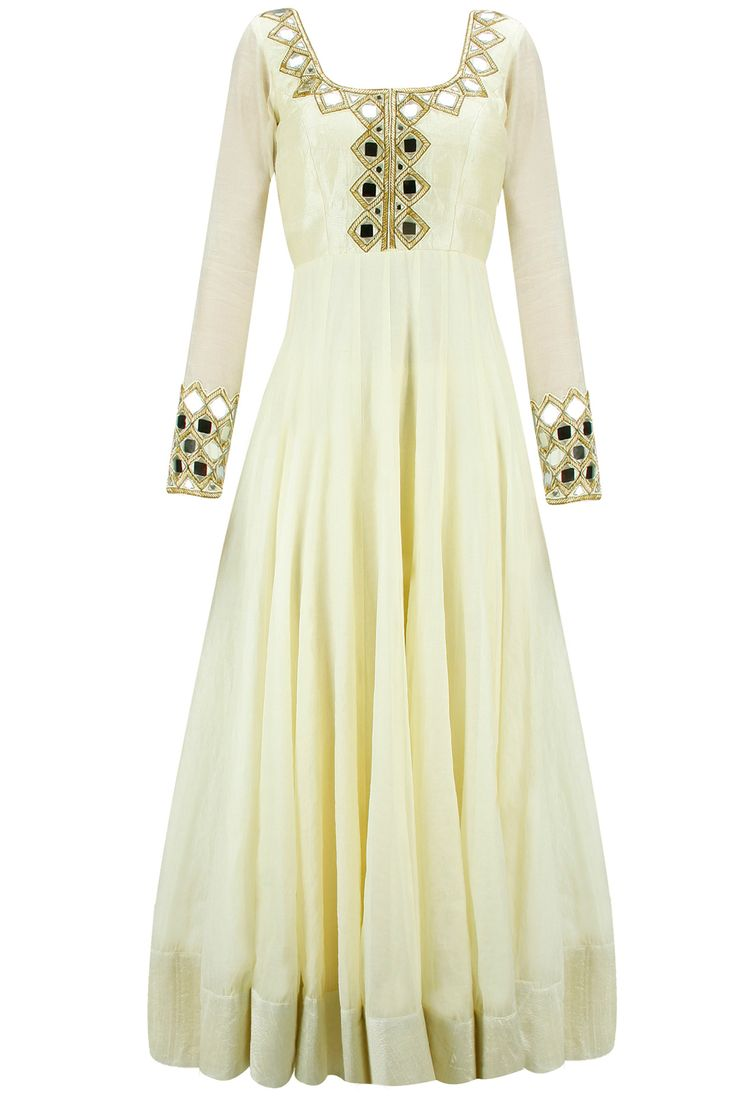 Light yellow mirror work anarkali set available only at Pernia's Pop-Up Shop.