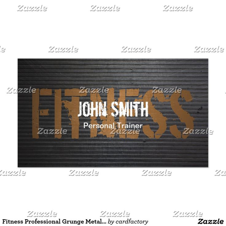 Fitness Professional Grunge Metal Personal Trainer Business Card #fitness #professional #grunge #metal #personal #trainer #business #card