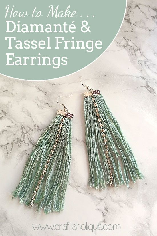 Earrings tutorial! How to make diamante and tassel fringe earrings using embroidery thread, cupchain and flat ribbon end findings! Read more...